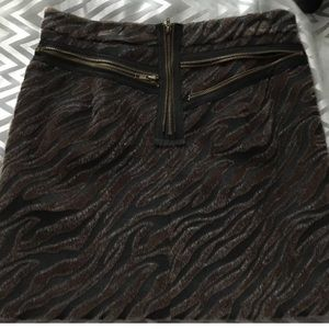Velvet zebra animal print pencil skirt